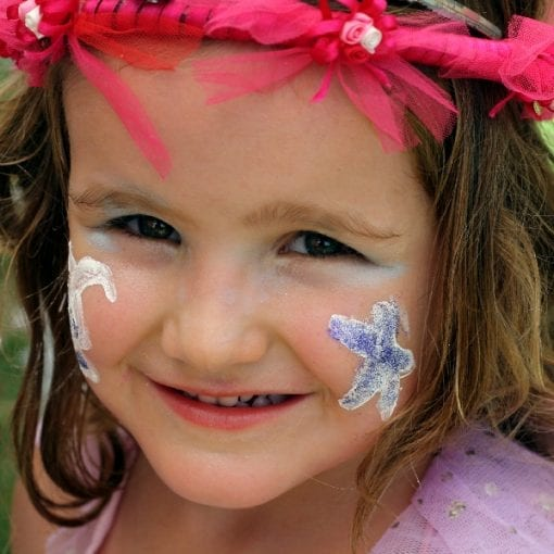Face Painting with Purple Glitter