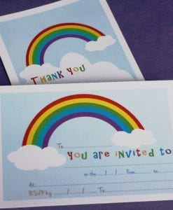 Rainbow Invite & Thankyou Cards