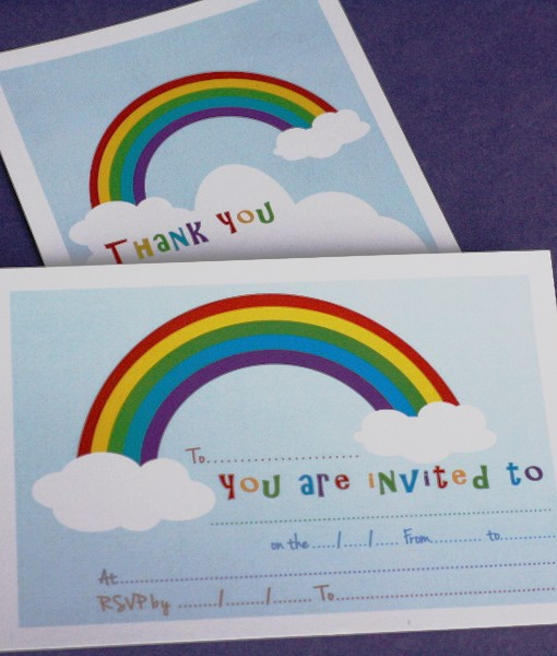 Rainbow invite thankyou cards party ideas in a box rainbow invite thankyou cards altavistaventures Image collections
