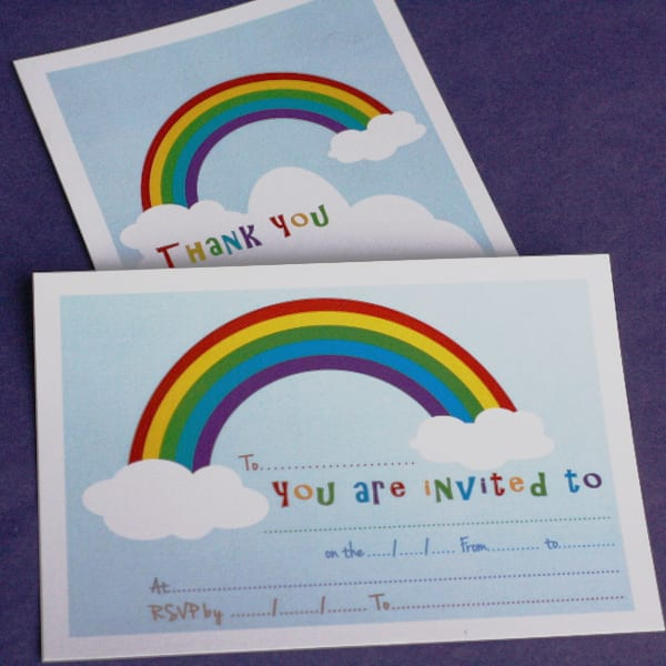 Rainbow Invite Thankyou Cards