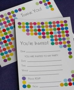 Spotty Party Invite & Thankyou Cards