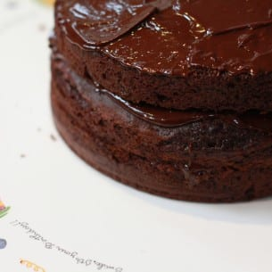 Chocolate sponge cake with ganache