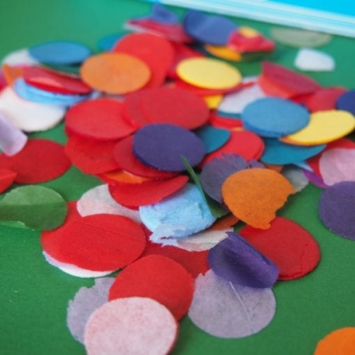 Tissue paper confetti dots are made from brightly coloured tissue paper. Original biodegradable party confetti add surprise to confetti filled invitations!
