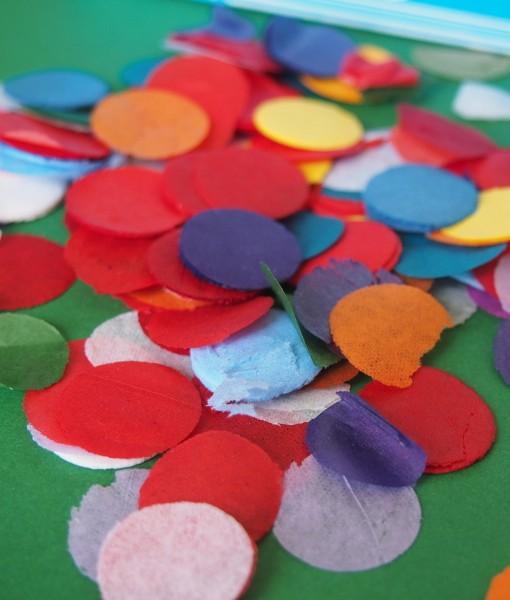Tissue paper confetti dots are made from brightly coloured tissue paper. Original biodegradable party confetti add surprise to confetti filled invitations!