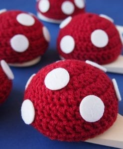 Red Fairy Toadstool and Spoon Race is a handmade fairy themed egg & spoon race relay game. Doubles as a party decoration for a girls fairy birthday party.