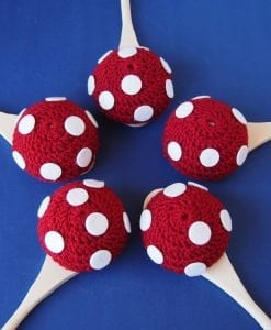 Red Fairy Toadstool and Spoon Race Game is a handmade fairy themed egg & spoon race relay game. Doubles as a party decoration for a girls fairy birthday party.