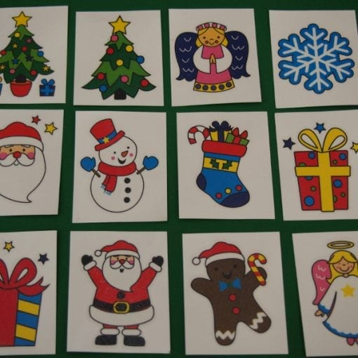 These Christmas temporary tattoos are included in our kids Christmas Bon Bons, also known as Christmas crackers. The Bon Bons are a unique and fun way to celebrate your festive Christmas Day. Includes good gifts, funny jokes, Christmas themed temporary tattoo and a brightly coloured paper crown!