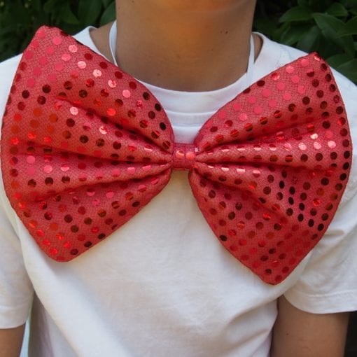Big red sequin bow tie is a wonderfully smart and fun dress up costume accessory for everyone who would like to wear The Cat in the Hat outfit