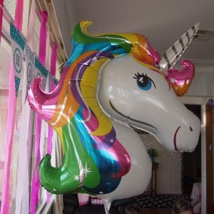 Jade's 9th Birtdhay Unicorn Party at her house neatly came together in a two week timeframe. This is how 13 children (11 girls and 2 boys) were entertained for a 3 hour afternoon party. The unpredictable weather meant that the planned party games were adaptable for an indoor or outdoor party. They played 4 structured party games mixed in with general playing.