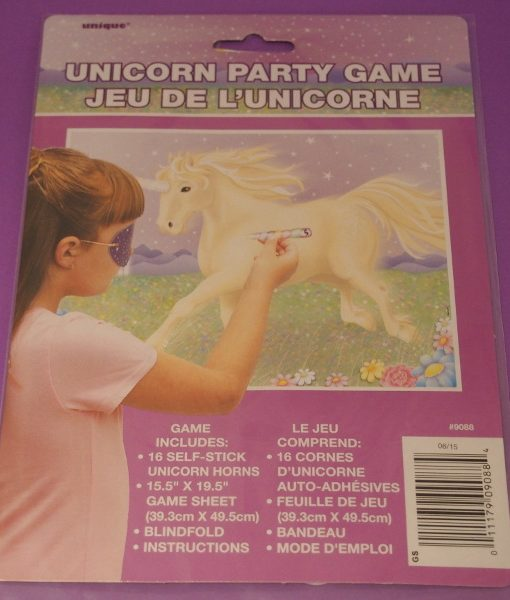 This Pin the Horn on the Unicorn game is the unicorn variation of the classic party game, Pin the Tail on the Donkey.